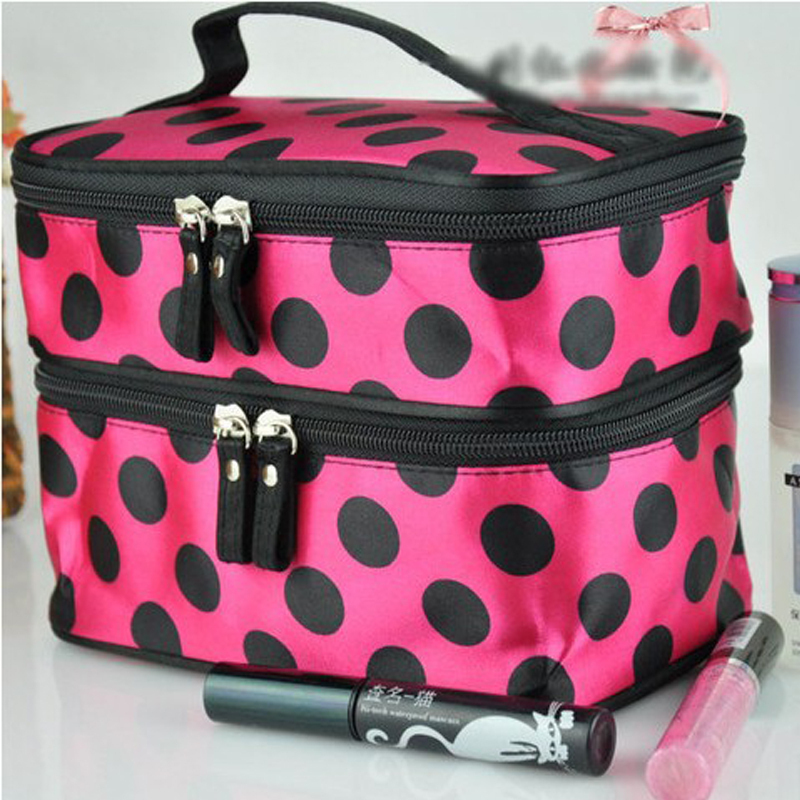 54ada9b04e Lady Double Cosmetic Bag Retro Dot Beauty Case Makeup Bag Set Kit Toiletry  Bag Free Shipping-in Makeup Sets from Beauty   Health on Aliexpress.com