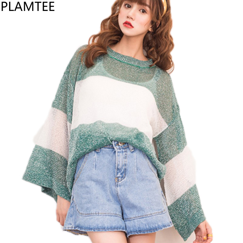 PLAMTEE Thin Hollow Out Sweather For Women Korean Loose Female Pullover Flare Sleeve Pull Femme Autumn Winter 2017 Stripe Jumper