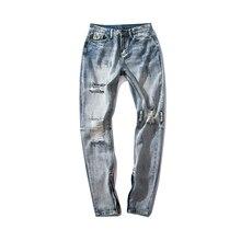 цены Fashion Men's Knee Hole Jeans Men's High Street Light Blue Slim Zipper Jeans Casual Long Jeans
