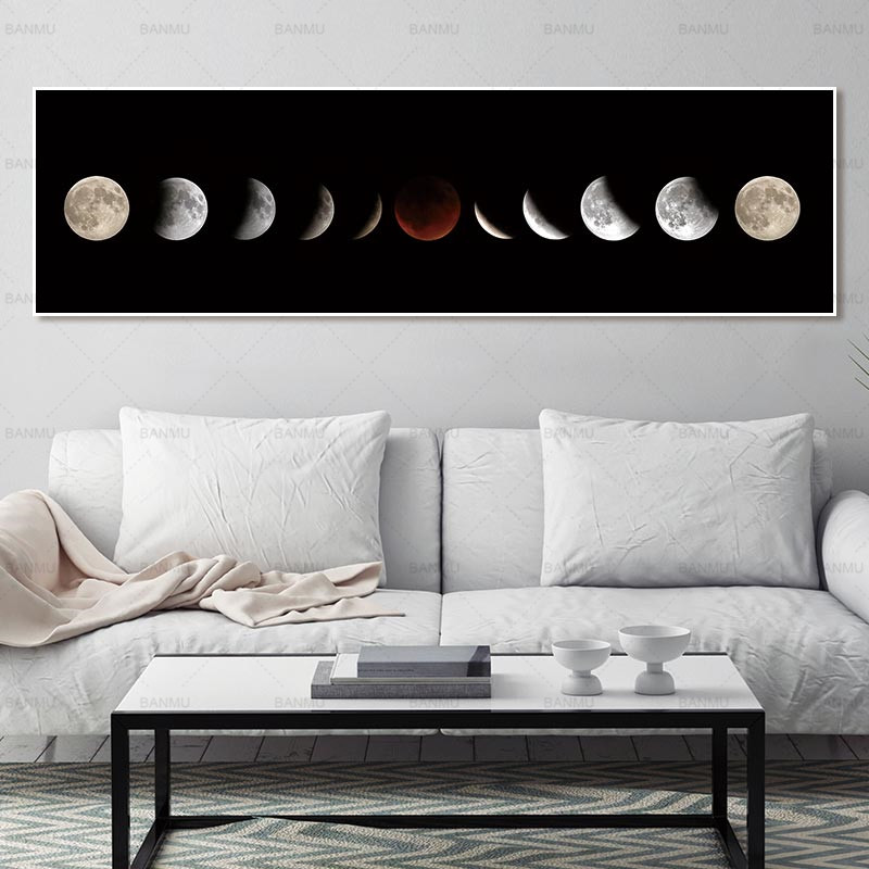 Art pictures art print moon canvas wall painting home decor print and poster no frame Painting decoration for living room