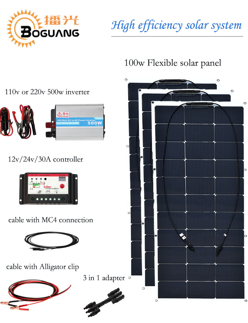 Boguang 300w solar system 100w flexible solar panel cell module 110v 220v 500w inverter 12v/24v 30A controller MC4 connector boguang 500w semi flexible solar panel solar system efficient cell diy kit module 50a mppt controller adapter mc4 connector
