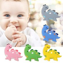 Baby Teething Toys Cartoon Dinosaur Silicone Teether Pendant Necklace Accessories Infant Chew DIY