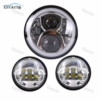 7 inch Headlight Angel eye Motorcycle Round LED headlamp +4.5 inch Fog light Passing Lamp for Harley Softail Touring