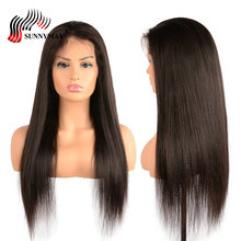 hot deal buy sunnymay yaki straight full lace human hair wigs brazilain virgin hair lace wigs with baby hair pre plucked for black woman