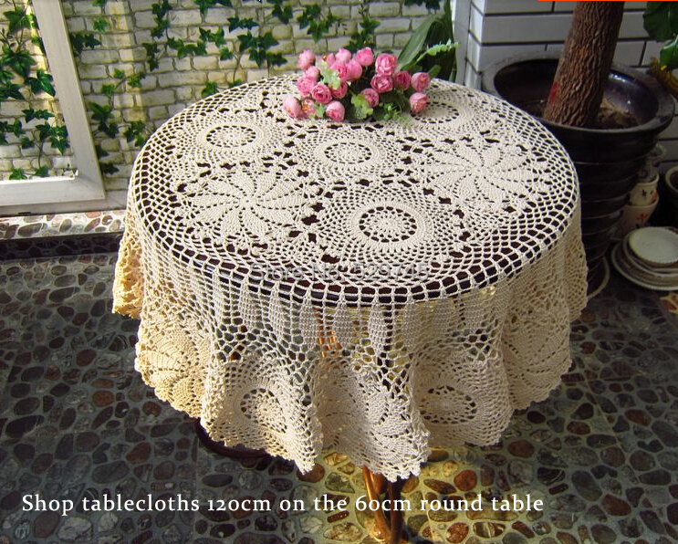 Handmade Crochet Cotton Thread Openwork Lace Tablecloths Bed Cover ...