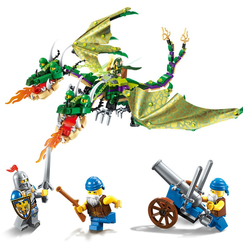 Constructive Enlighten The War Of Glory Double-headed Dragon Knights Battle Building Blocks Set Model Kids Toys Gift Compatible Legoings Nexo Blocks