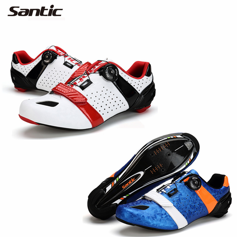 2016 New products SANTIC Carbon Fiber Cycling Shoes Men's Road Bike Shoes Ultralight Road Bicycle Shoes Breathable Cycle Shoes