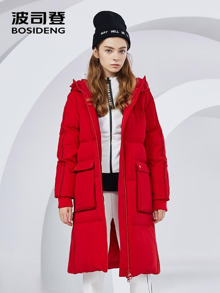 BOSIDENG winter long   down     coat   for women thicken   down   jacket hooded waterproof high quality windbreaker B80142516DS