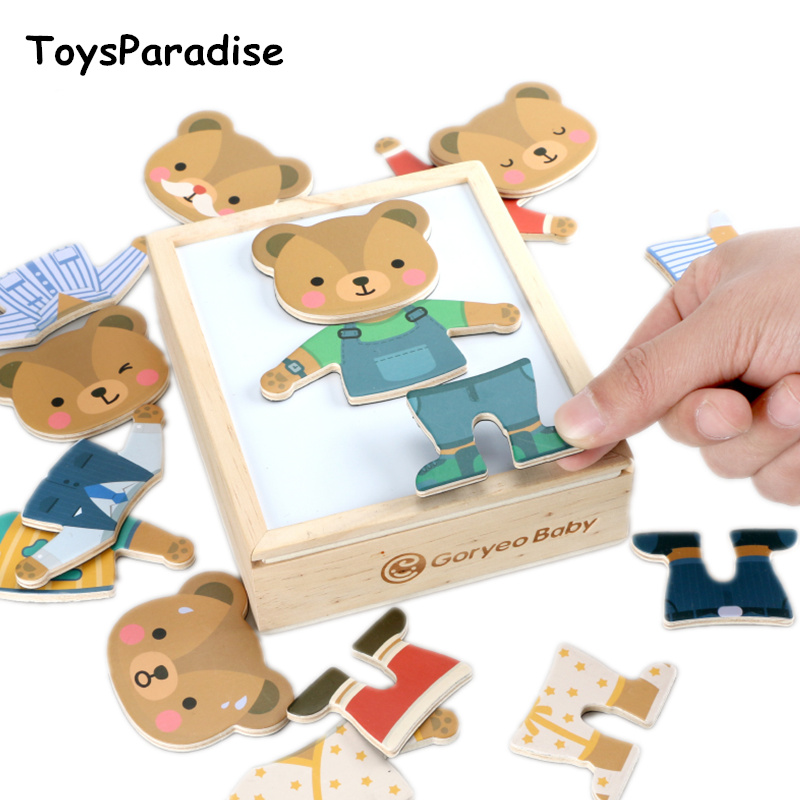GoryeoBaby Toys 6 Clothes Magnetic Puzzles Bear/Profession Dress Changing Wooden Toys For Kids Dressing Jigsaw Box Educational