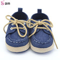 2016New Primavera Otoño Primer Caminante del Bebé Zapatos Niño Niña Cordones Suaves del Pesebre Sneaker Prewalker Sapatos