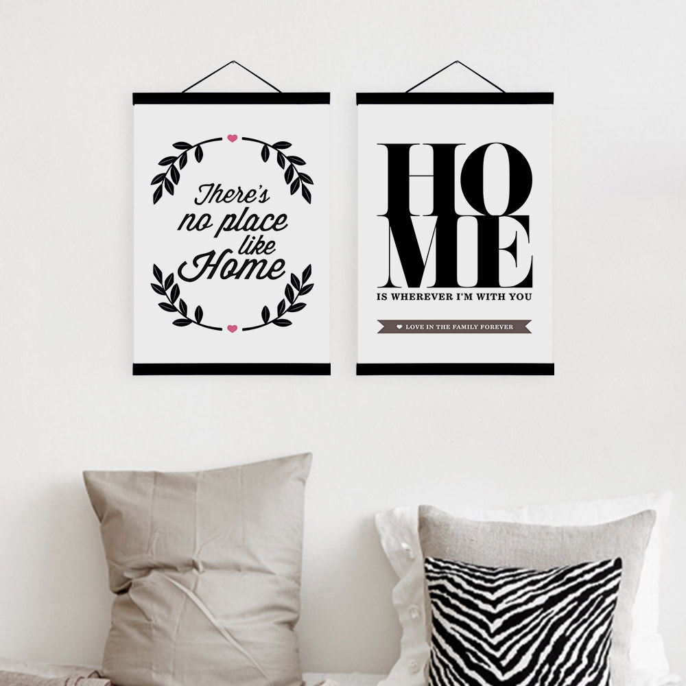 Modern Black White Typography Home Quotes Wooden Framed Canvas