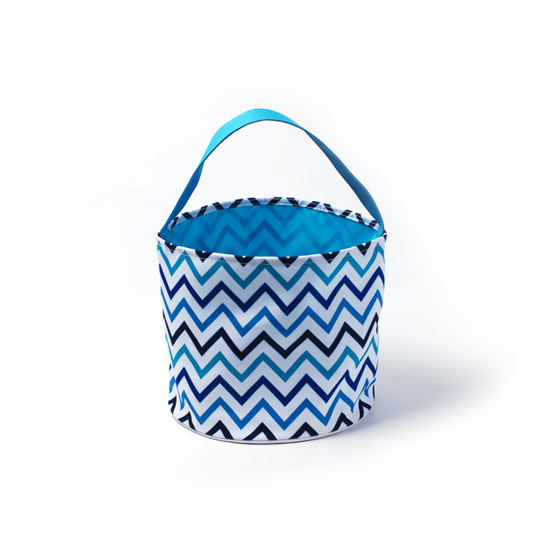 25Cm*23.5Cm Multi Chevron Easter Baskets Wholesale Blanks Canvas Polka Flower Easter Buckets Easter Day Kids Gift Tote DOM106798