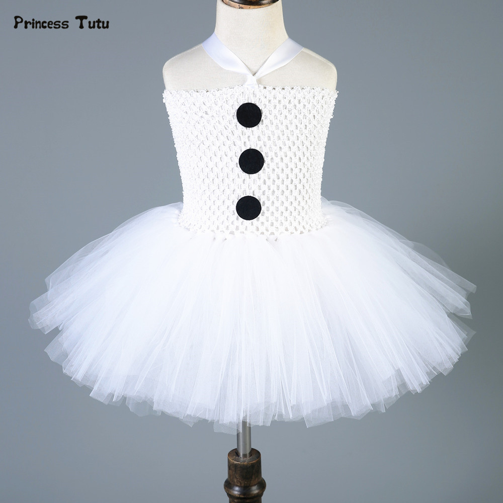 Baby Kids Girls Christmas Dress White Party Tutu Dress Snowman Olaf Cosplay Costume Tulle Princess Girl Dresses With Headband fancy girl mermai ariel dress pink princess tutu dress baby girl birthday party tulle dresses kids cosplay halloween costume