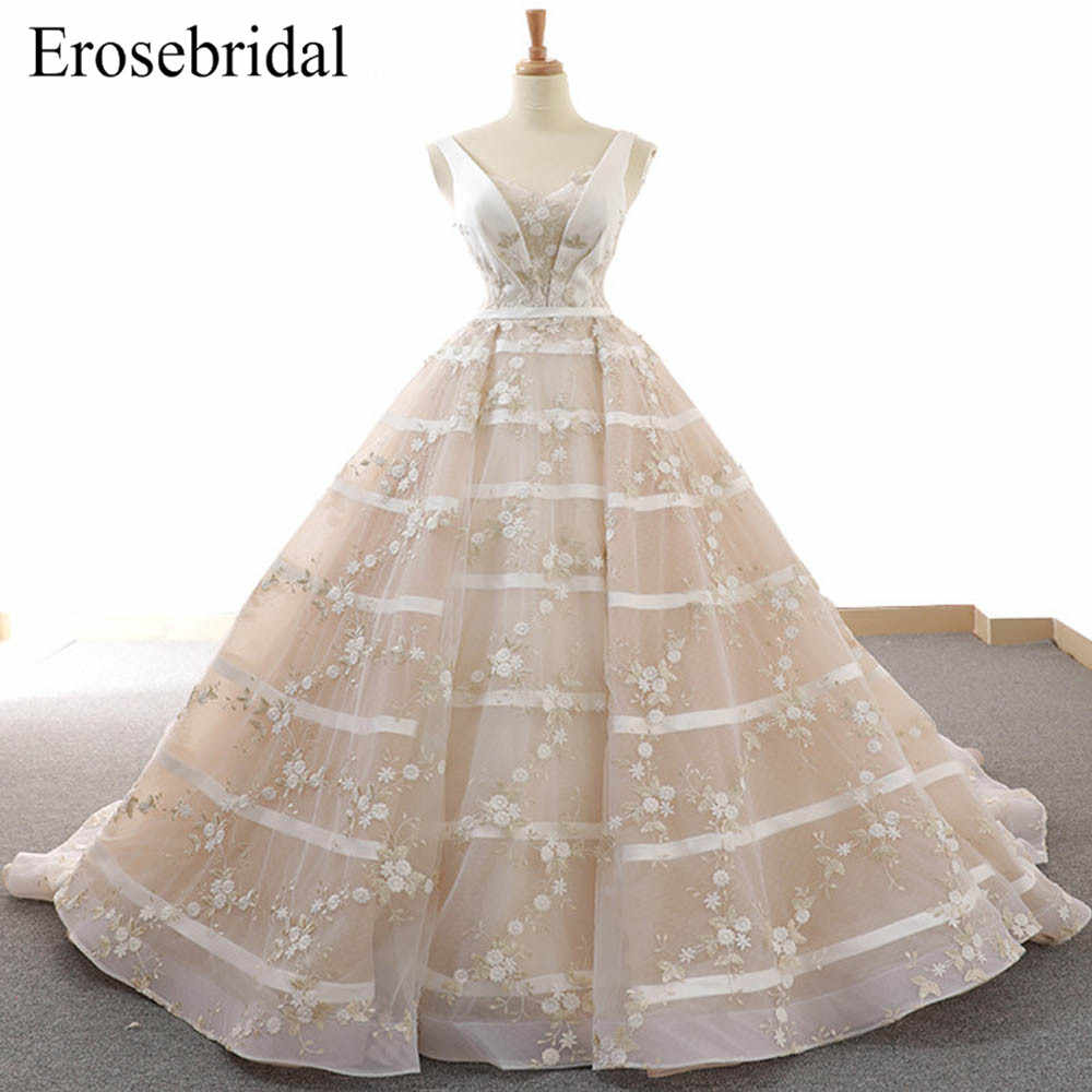 78843f8f1 2019 Embroidery Ball Gown Wedding Dress Elegant Lace Bridal Gown Lace Up  Back with Court Train