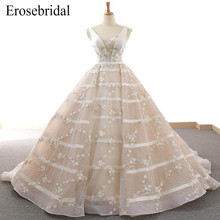2019 Embroidery Ball Gown Wedding Dress Elegant Lace Bridal Gown Lace Up Back with Court Train Vestido De Noiva BT-2616 crayfish embroidery zip up back dress