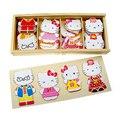 2016 Новое Прибытие Детские Игрушки Hello Kitty Семья Деревянные Головоломки Туалетная Изменение Головоломки 3D Головоломки Обучающие Обучение Brinquedo