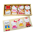 2016 New Arrival Baby Toys Hello Kitty Family Wooden Puzzle Dressing Changing Jigsaw 3D Jigsaw  Educational Learning  Brinquedo