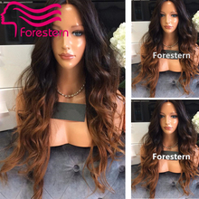 Glueless Ombre Lace Front Human Hair Wigs/ Brazilian Ombre Full Lace Human Hair Wigs Ombre Two Tone Wigs Bleached Knot Free Ship