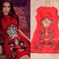 High Quality Luxury Brand Rhinestones Summer Clothes Women Red Dress Fashion Lace Embroidery Sleeveless A Line Dress Girls