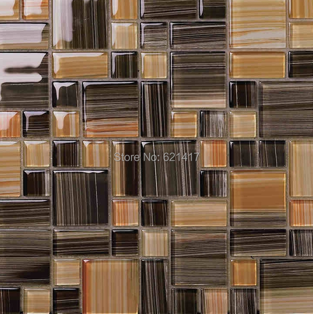 small and big square brown color crystal glass mosaic kitchen backsplash  glass mosaic tile bathroom shower