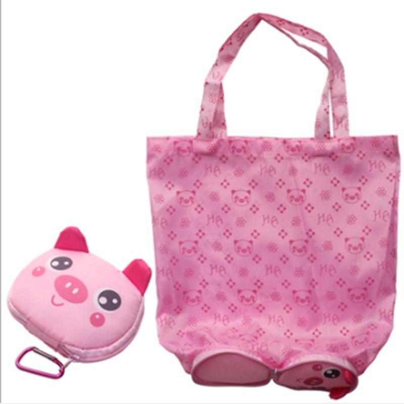 Shopping Bags 1pc Cartoon Animal Folding Shopping Tote Reusable Eco Bag Panda Frog Pig Bear Waterproof Shopping Bag Grocery Handbags Functional Bags
