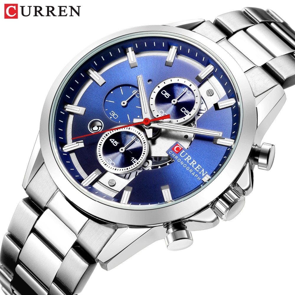CURREN Fashion Design Watches for Men 2019 Luxury Brand Mens Watch Casual Sport Wristwatch Chronograph Stainless Steel ClockCURREN Fashion Design Watches for Men 2019 Luxury Brand Mens Watch Casual Sport Wristwatch Chronograph Stainless Steel Clock