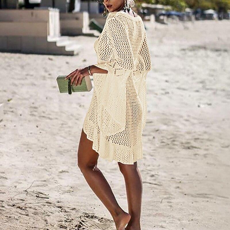 Creux Out Tricoté Flare Manches chemisier de plage couverture pare-soleil Up