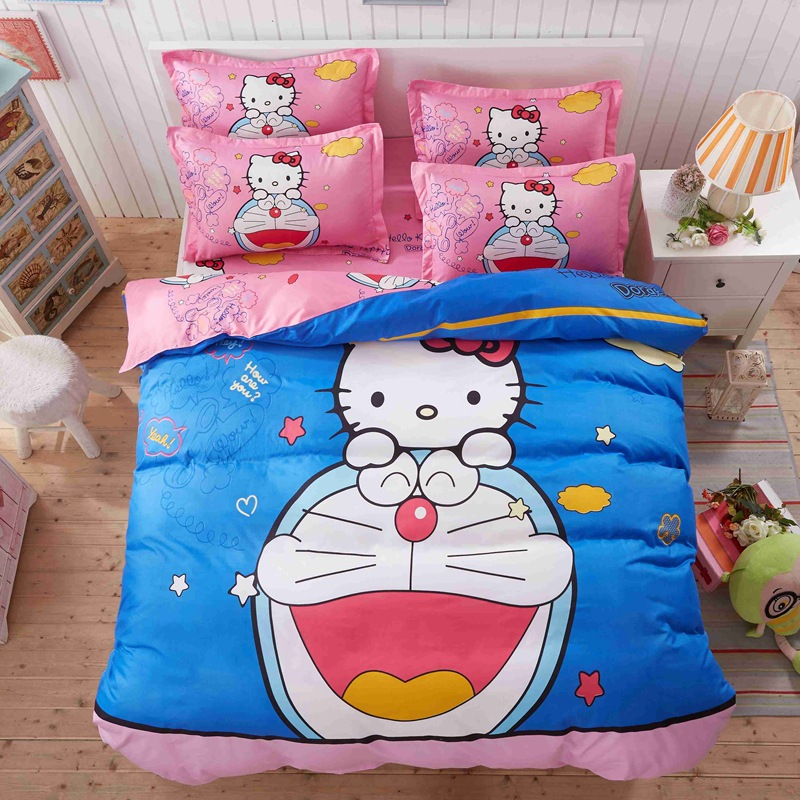 Fashion Printing Cartoon Home Bedding Set Doraemon Printed for Kids Bedroom Bed Linen Set Pink Blue Bedspread 4pcs Duvet Cover