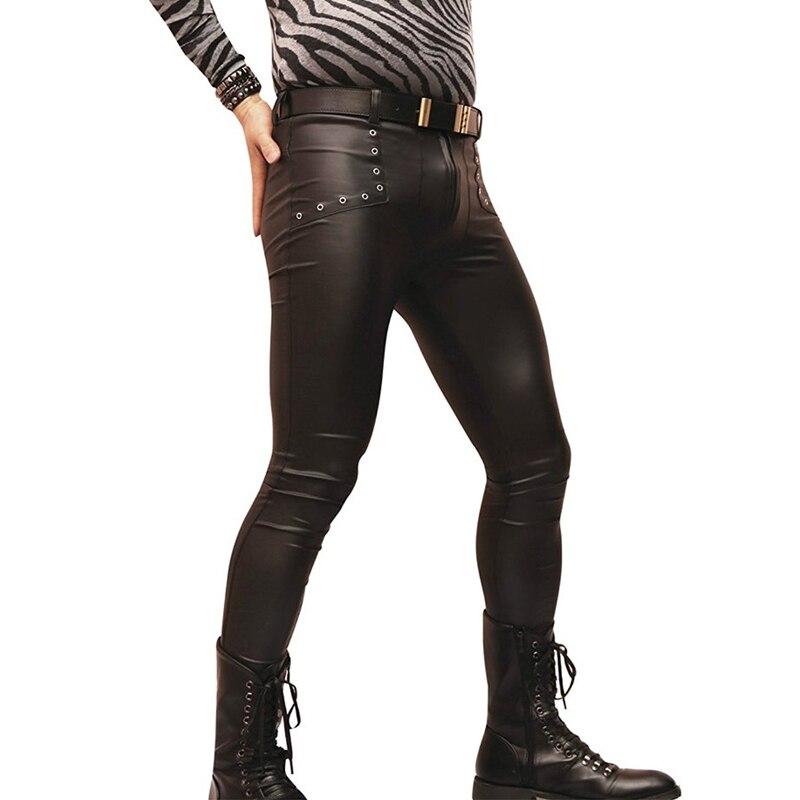 Sexy Men Latex Faux Leather Skinny Tight Pants Matte Shiny Fashion Pencil Pants Punk Hollow Legging Pants Gay Wear F115 bluesonic bs f115
