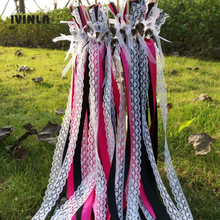50pcs/lot black and fushia Wedding ribbon Wands  Witht Bell For Decoration