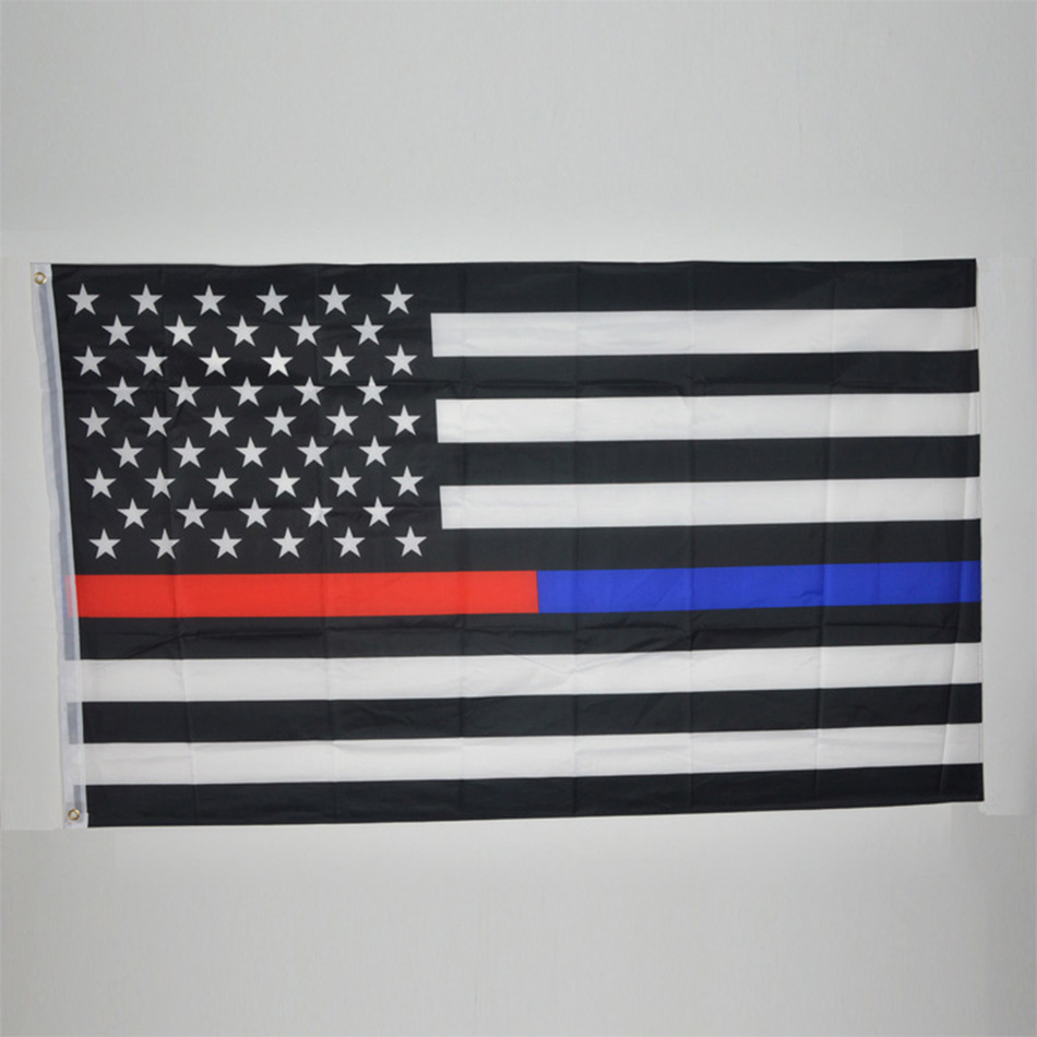 90*150CM Blue Line usa Police Flags 3 By 5 Foot Thin Blue Line USA Flag Black, White And Blue line Flag With Grommets