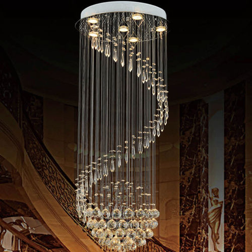 Luxury Modern Fashion LED Chandelier lamp Home Deco Top Grade DIY Spiral Crystal Ball Rain drop Hanging Chandelier Light Fixture deco home вешалка