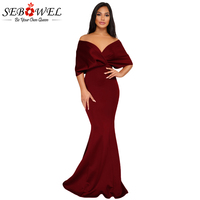 Sebowel 2018 New Arrival Off Shoulder Mermaid Maxi Dress Women Elegant Foor Length Bodycon Long Dress Sexy Retro Party Dresses