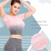 Women Sports T shirt Seamless Short Sleeve Running Sport Crop Top Sport Wear Four Way Stretch Fitness Gym Workout Tops Dropship