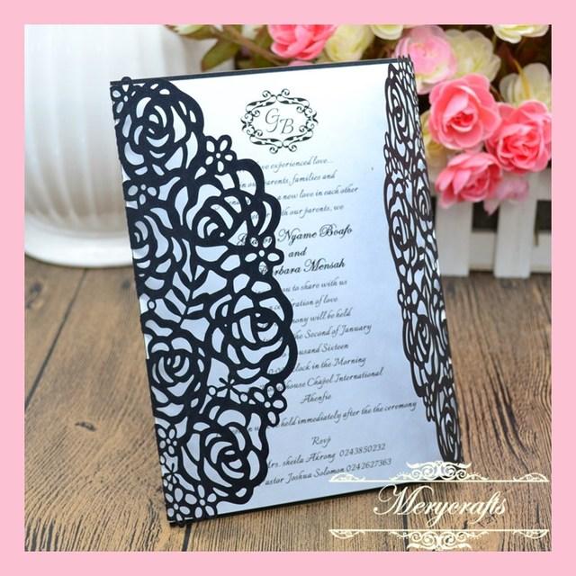 Rose Flower 50pcs New Design Delicate Paper Carved Wedding Invitations  Laser Cut Invitation Card