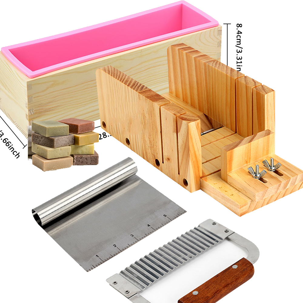 4pcs Silicone Mold Soap Making Tool Set Adjustable Wooden Loaf Cutter Box 2 Pieces Stainless Steel Blades for DIY Handmade Soap