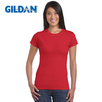 Gildan High Quality 22 Color S-XL Plain T Shirt Women 100% Cotton Elastic Basic T-shirts Female Casual Tops Short Sleeve T-shirt