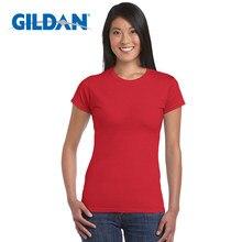 Gildan-Camiseta lisa de S-XL para mujer, de 22 colores, camisetas 100% de algodón con base elástica, Tops informales para mujer, camiseta de manga corta