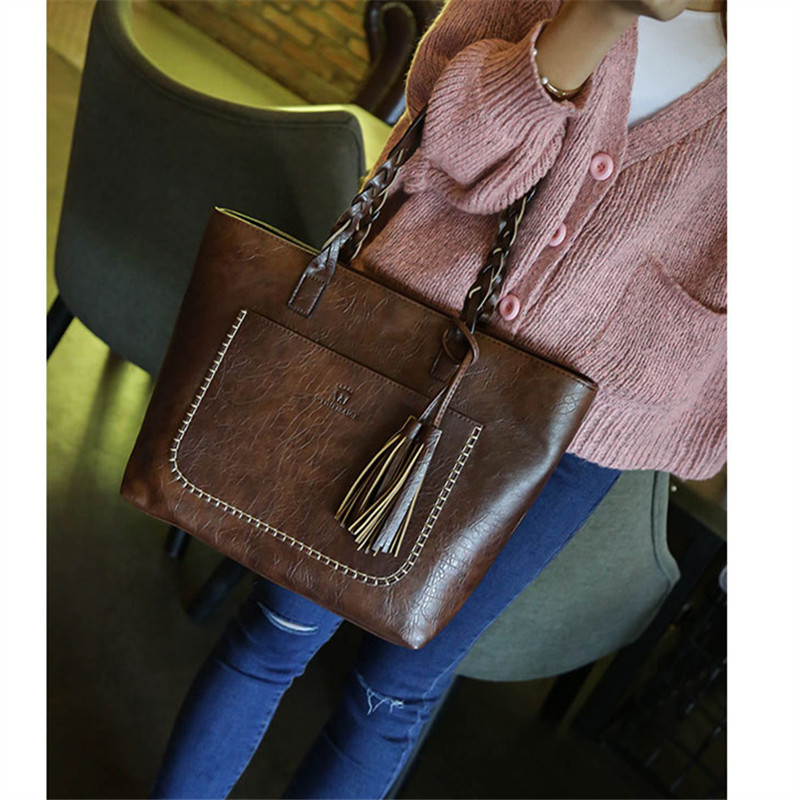 Tassel Women Leather Shoulder Bags with Handle Handbags Retro Causal Tote Luxury Designer Large Shopping Purses Drop Shipping