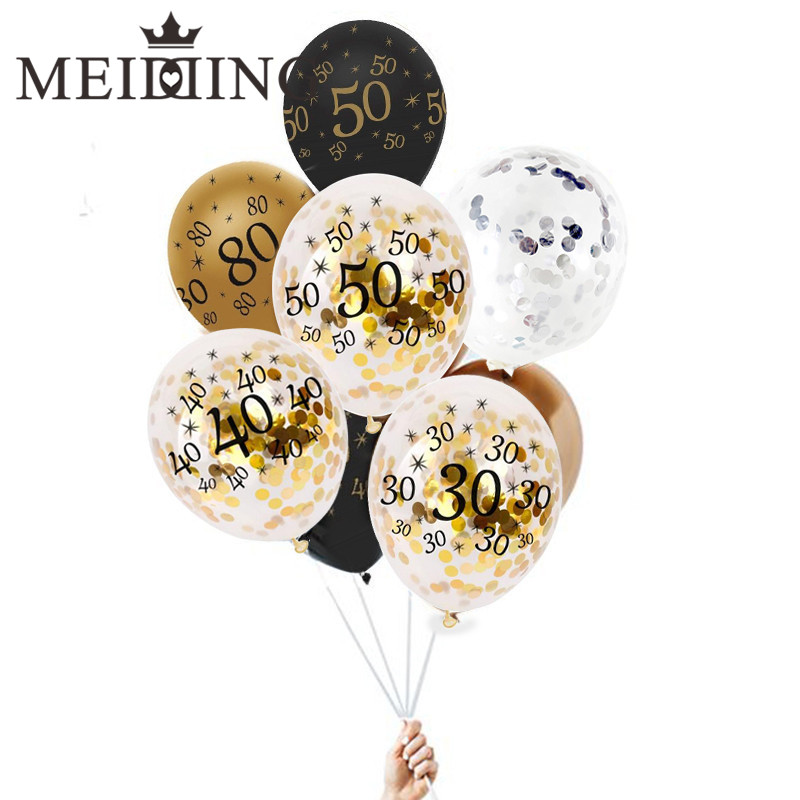 MEIDDING-10pcs/lot 12inch 30/40/50/60/70/80th Clear Confetti Latex Balloon for Birthday Balloons Decoration Party Supplies