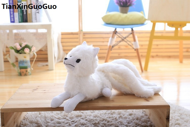 about 50cm cartoon fox plush toy white cartoon fox with nine tails, soft doll throw pillow birthday gift s0744 image
