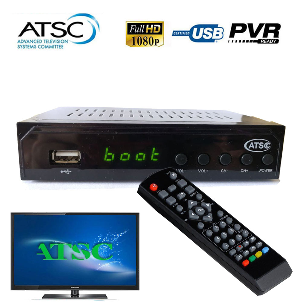 1080P ATSC Terrestrial Broadcast Digital Analog Converter Box Receiver Set Top Box With Media Player USB Recording RF 54-803MHz