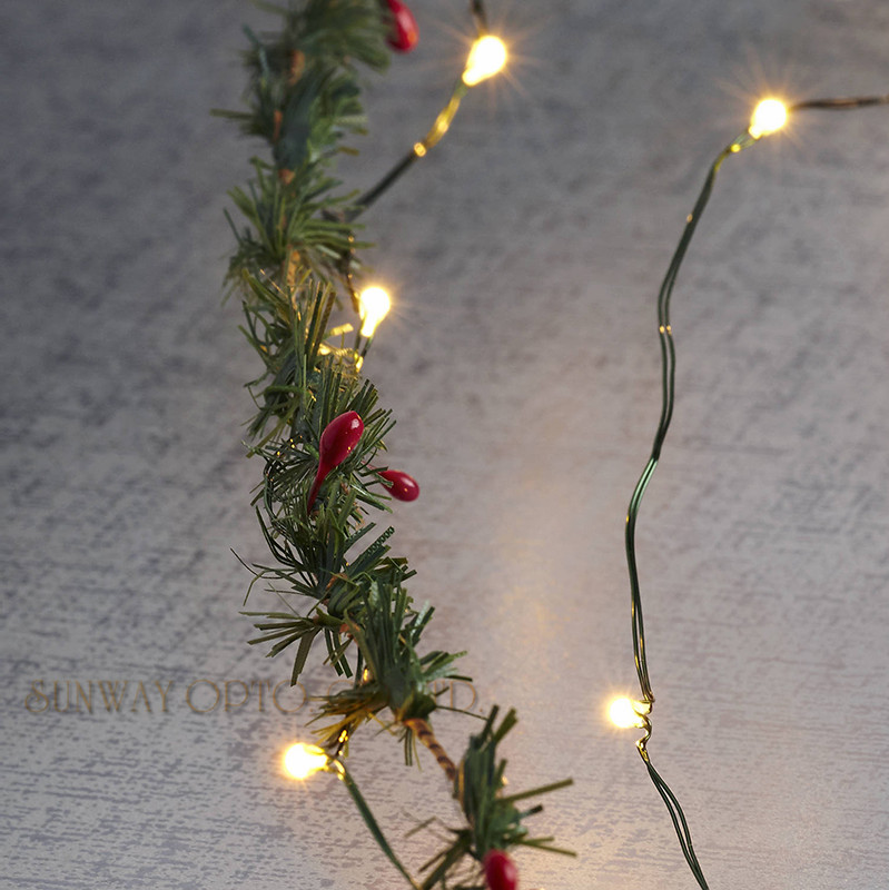 Green Cable 5M 50 LED Fairy String Lights Outdoor Waterproof Garland Lights Battery Operated Holiday Copper Wire String Lights