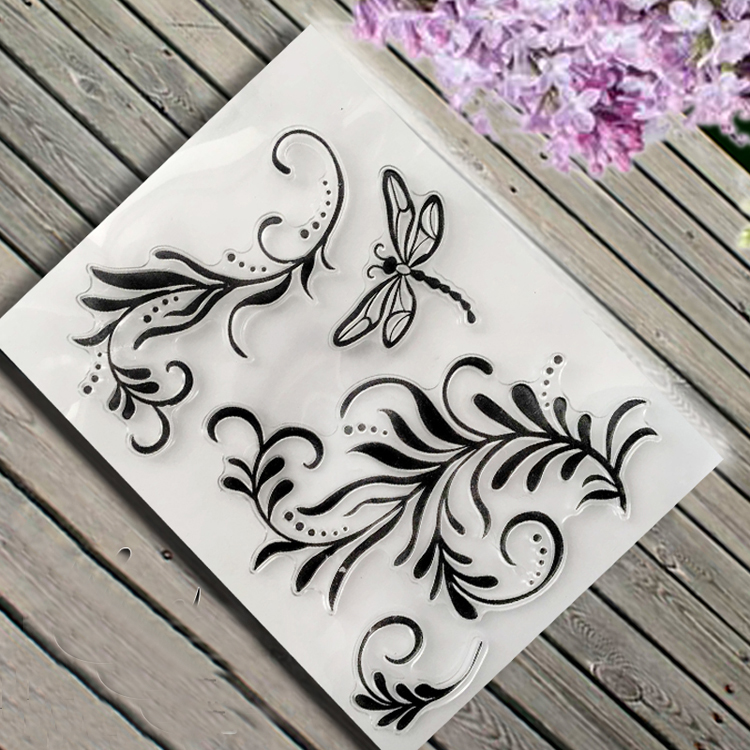 about plants dragonfly lace Transparent Clear Stamp DIY Silicone Seals Scrapbooking Card Making Photo Album craft TM-027 lovely animals and ballon design transparent clear silicone stamp for diy scrapbooking photo album clear stamp cl 278