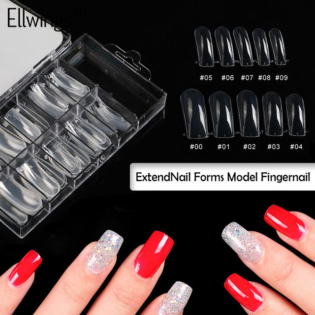 Ellwings Jelly Poly Gel Fake Nails Clear Full Cover Acrylic Nails ...