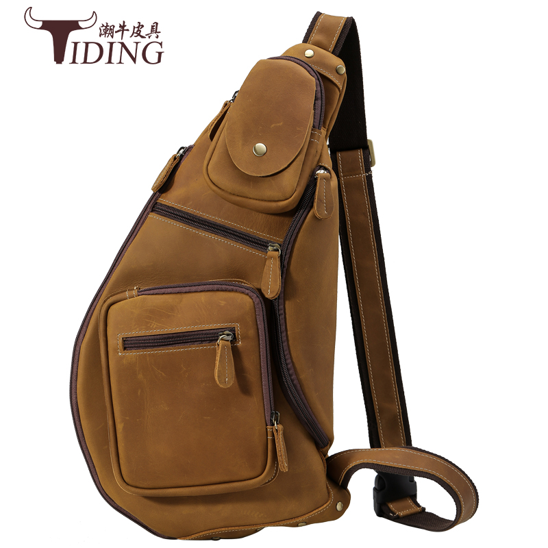 New High Quality Vintage Casual Crazy Horse Leather Genuine Cowhide Men Chest Bag Big Messenger Bags For Man men travel bag vintage coffee genuine leather men messenger bags men s bag for ipad men shoulder bag cowhide travel bag man md j7338