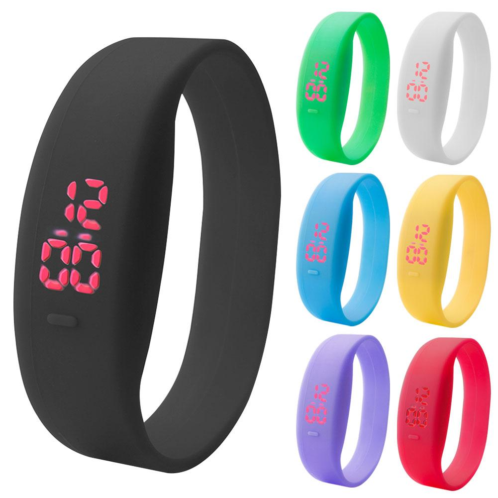 Casual Solid Color Silicone Band Digital LED Unisex Sports Wrist Watch Wristband Gift