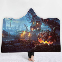 Lannidaa Home Textiles Halloween Blanket Thick Hooded Fleece Blankets For Kids Playing Sleeping Flannel Winter Beds Throw Cover