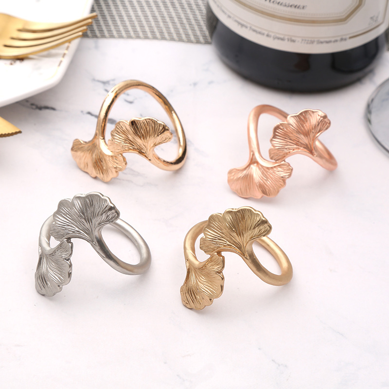 10pcs 3D Creative Hollow Leaf Napkin Buckle Wedding Hotel Napkin Ring Tableware Napkin Ring Set Decoration