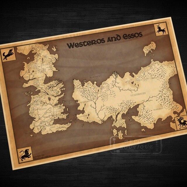Map of Westeros and Essos Classic Vintage Retro Kraft Decorative ...